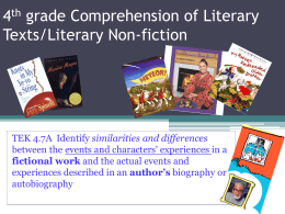 4th grade Comprehensionof Literary Texts