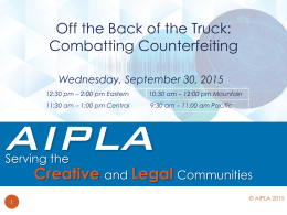 Off the Back of the Truck Combatting Counterfeiting