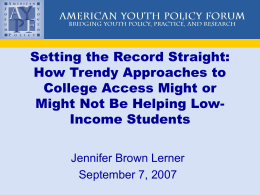 Setting the Record Straight — How Trendy Approaches to College