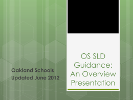 OS SLD Guidance: An Overview of the Document