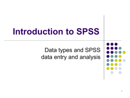 Intro to SPSS