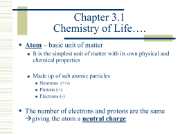 Chapter 2 Chemistry of Life….