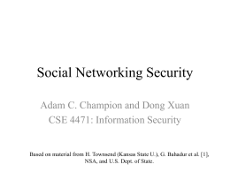 Social Networking Security - Computer Science and Engineering