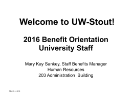 Welcome to UW-Stout! - University of Wisconsin