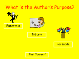 What is the Author`s Purpose?