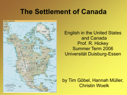 The Settlement of Canada - an der Universität Duisburg