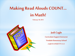 Making Read Alouds COUNT...in Math! - K