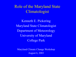 Dr. Kenneth Pickering - Department of Meteorology and Climate