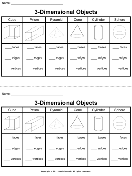 3-Dimensional Objects – Answer Key