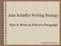 Jane Schaffer Paragraph Writing – Three Pigs