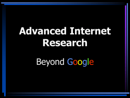 Advanced Internet Research - Gallagher Law Library