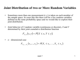 Joint Distributions of 2 or More Random Variables
