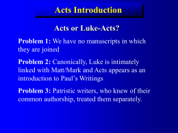 Luke- Acts Introduction