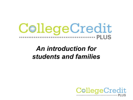 College Credit Plus - West Clermont Local Schools