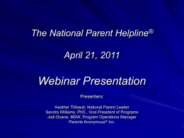 Presentation - National Parent Helpline