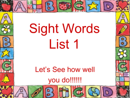 Sight Words list 1