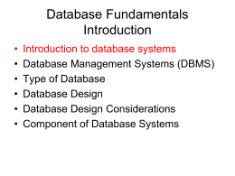 Database Fundamentals Introduction