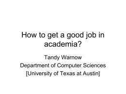 How to get a good job in academia?