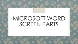 Microsoft Word Screen Parts