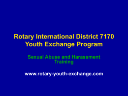 Sex Abuse Training D7170 - Rotary Youth Exchange District 7170