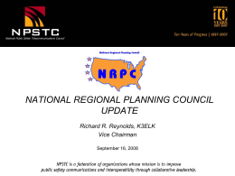 "National Regional Planning Council ""UPDATE REPORT"""