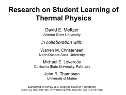 Research on Student Learning of Thermal Physics
