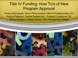Title IV Funding: How To`s of New Program Approval