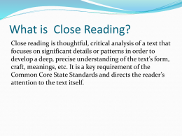 Close Reading Power Point - Mr. Webb`s Fifth Grade LEADS