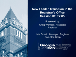 New Leader Transition in the Registrar`s Office