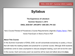 Syllabus - The Homepage of Dr. David Lavery