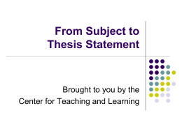 Pre-writing Strategies and Thesis Statements