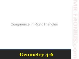 Right Triangle Congruence