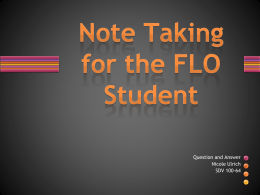 Note Taking for the FLO Student (new window)