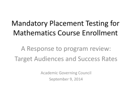 Placement Testing for Mathematics