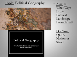 Introduction to Political Geography PPT
