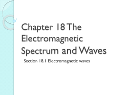 Chapter 18 The Electromagnetic Spectrum and Light