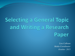 Topic Research 2015