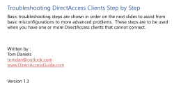 Troubleshooting DirectAccess Clients Step by Step