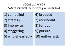 VOCABULARY FOR *AMERICAN CHILDHOOD* by Annie Dillard
