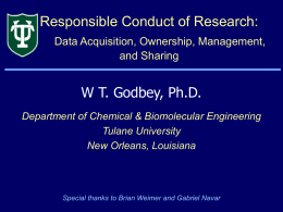 Responsible Conduct of Research: Data