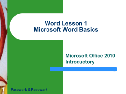 Word Lesson 1 Microsoft Word Basics