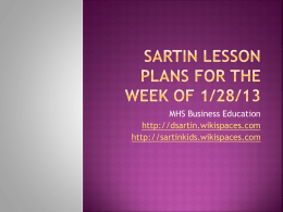 Sartin Lesson Plans for the week of 1/28/13 - dsartin