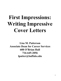 Cover Letters - University at Buffalo School of Law