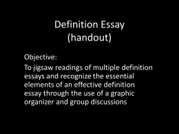 Definition Essay - TJ