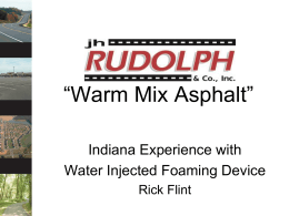 Warm Mix Asphalt - Purdue e-Pubs