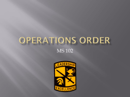 Operations Order - The University of Akron