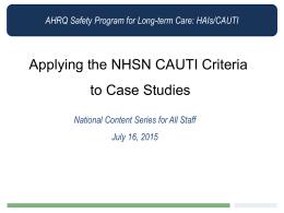 AHRQ Safety Program for Long-term Care: HAIs/CAUTI