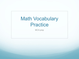 Math Vocabulary Practice - Dakota Hills Middle School