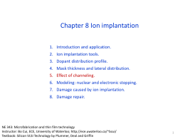 Chapter 8 Ion implantation II