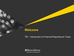 Introduction to Financial Reporting for Taxes
